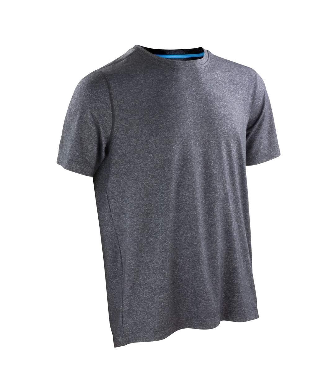 Spiro Mens Shiny Marl Short Sleeve Fitness T-Shirt (Phantom Grey / Ocean Blue) - UTRW4773