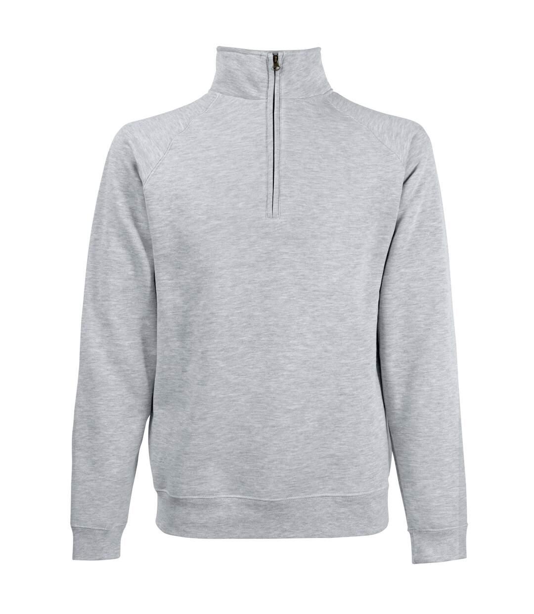 Fruit Of The Loom Mens Zip Neck Sweatshirt Top (Heather Grey) - UTBC1370