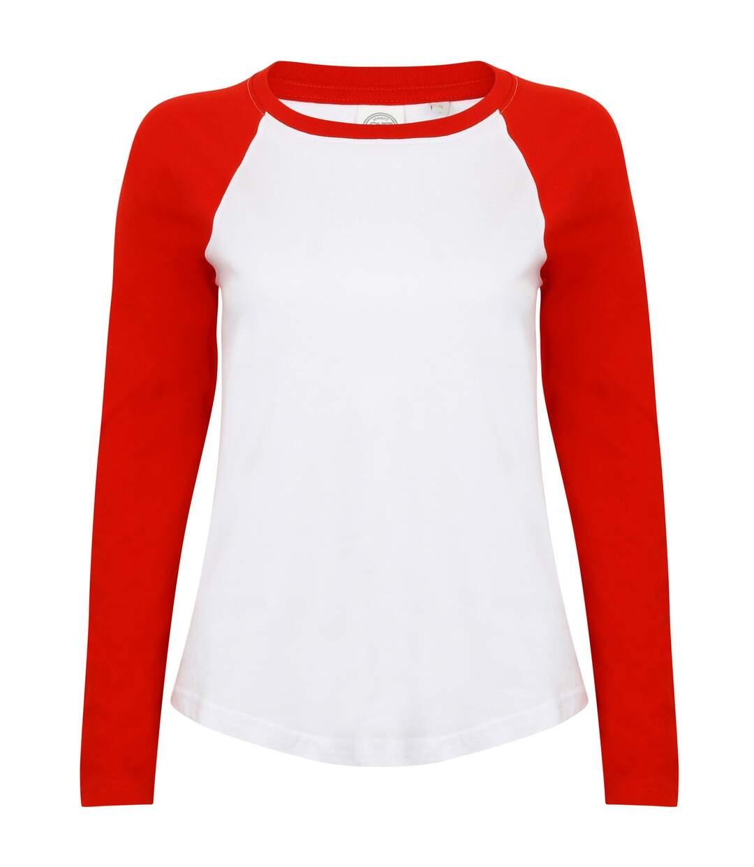 Skinni Fit - T-Shirt À Manches Longues - Femme (Blanc/Rouge) - UTRW4731