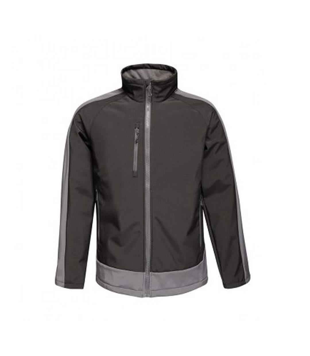 Regatta  Mens Contrast Three Layer Printable Soft Shell Jacket (Black/Seal Grey) - UTPC3318