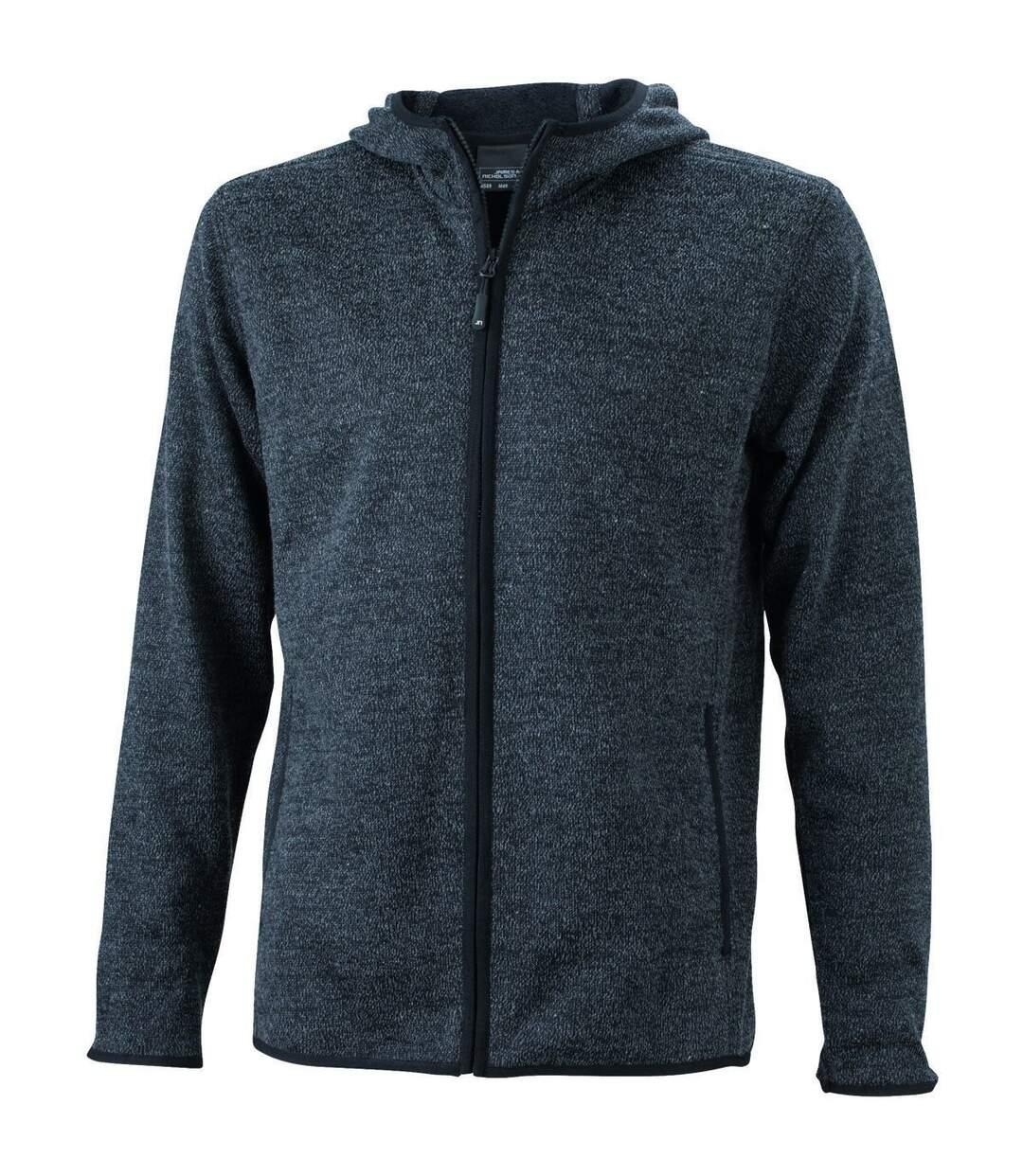 Veste tricot polaire à capuche HOMME- JN589 - noir chiné