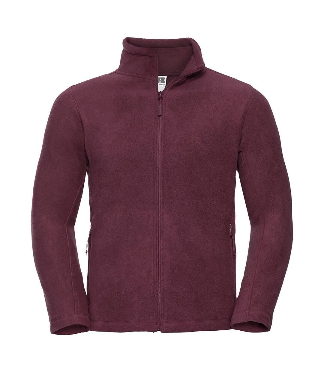Russell Mens Full Zip Outdoor Fleece Jacket (Burgundy) - UTBC575