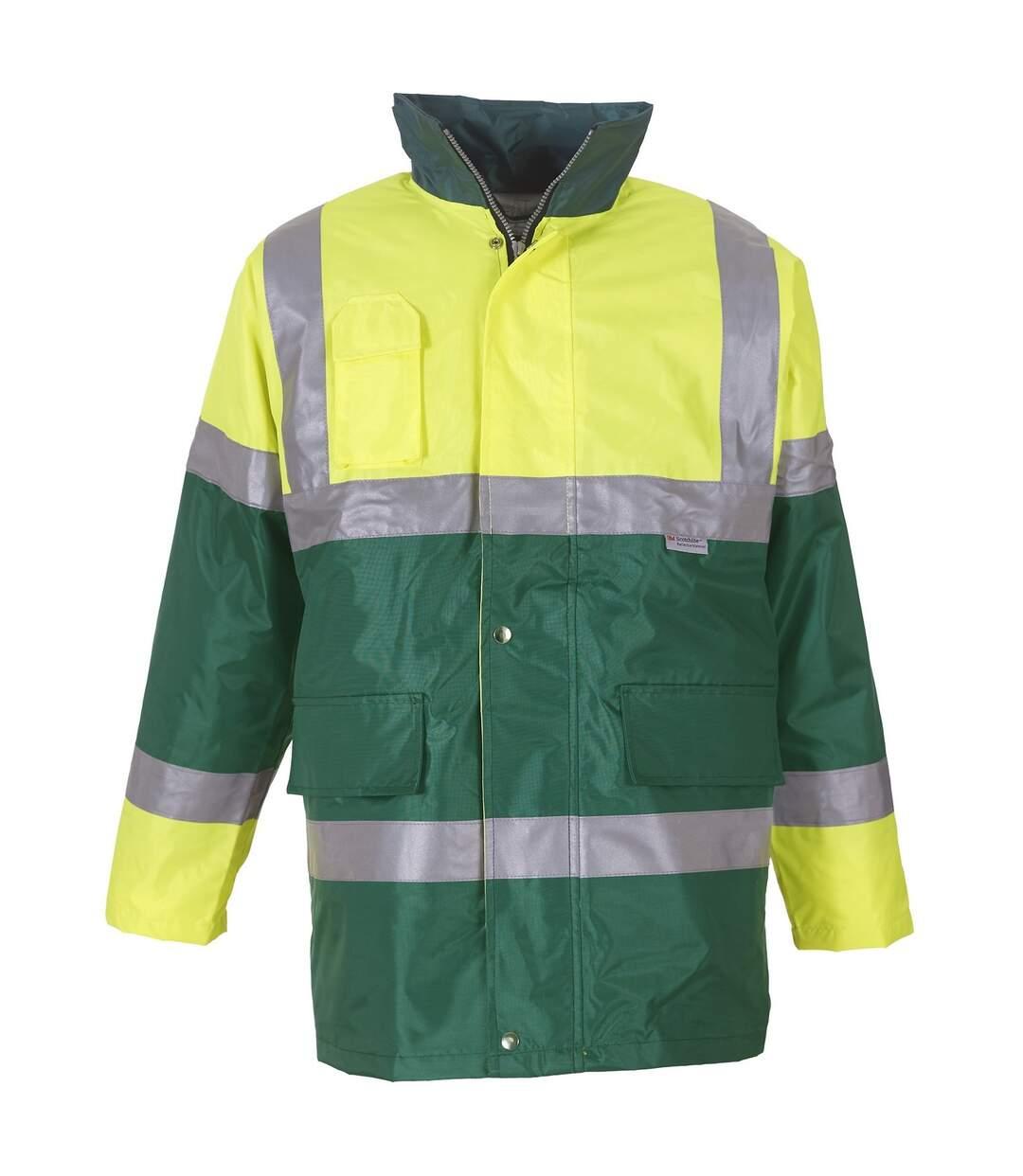 Yoko Mens Hi Vis Contrast Safety Jacket (Yellow/ Paramedic Green) - UTRW4681