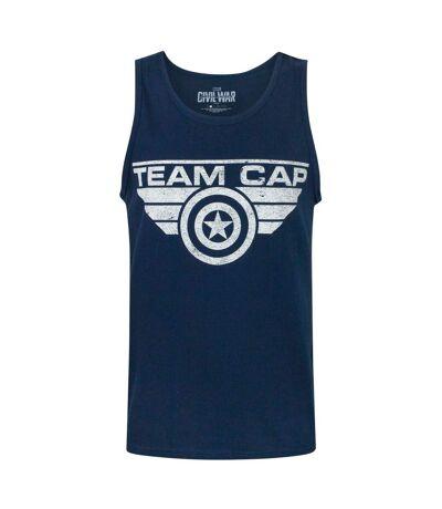 Captain America Civil War Mens Team Cap Distressed Vest (Blue) - UTNS5693