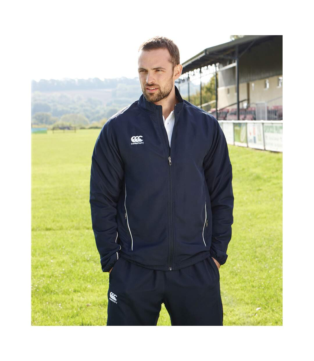 Canterbury Mens Team Athletic Water Resistant Track Jacket (Navy/White) - UTPC2475