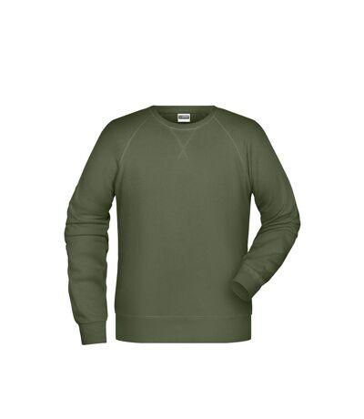 James and Nicholson Mens Raglan Long Sleeved Sweatshirt (Olive) - UTFU994