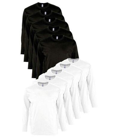 lot 10 T-shirts manches longues HOMME - blanc et noir