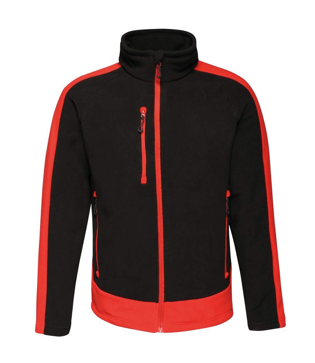 Regatta Contrast Mens 300 Fleece Top/Jacket (Black/Classic Red) - UTRW6352