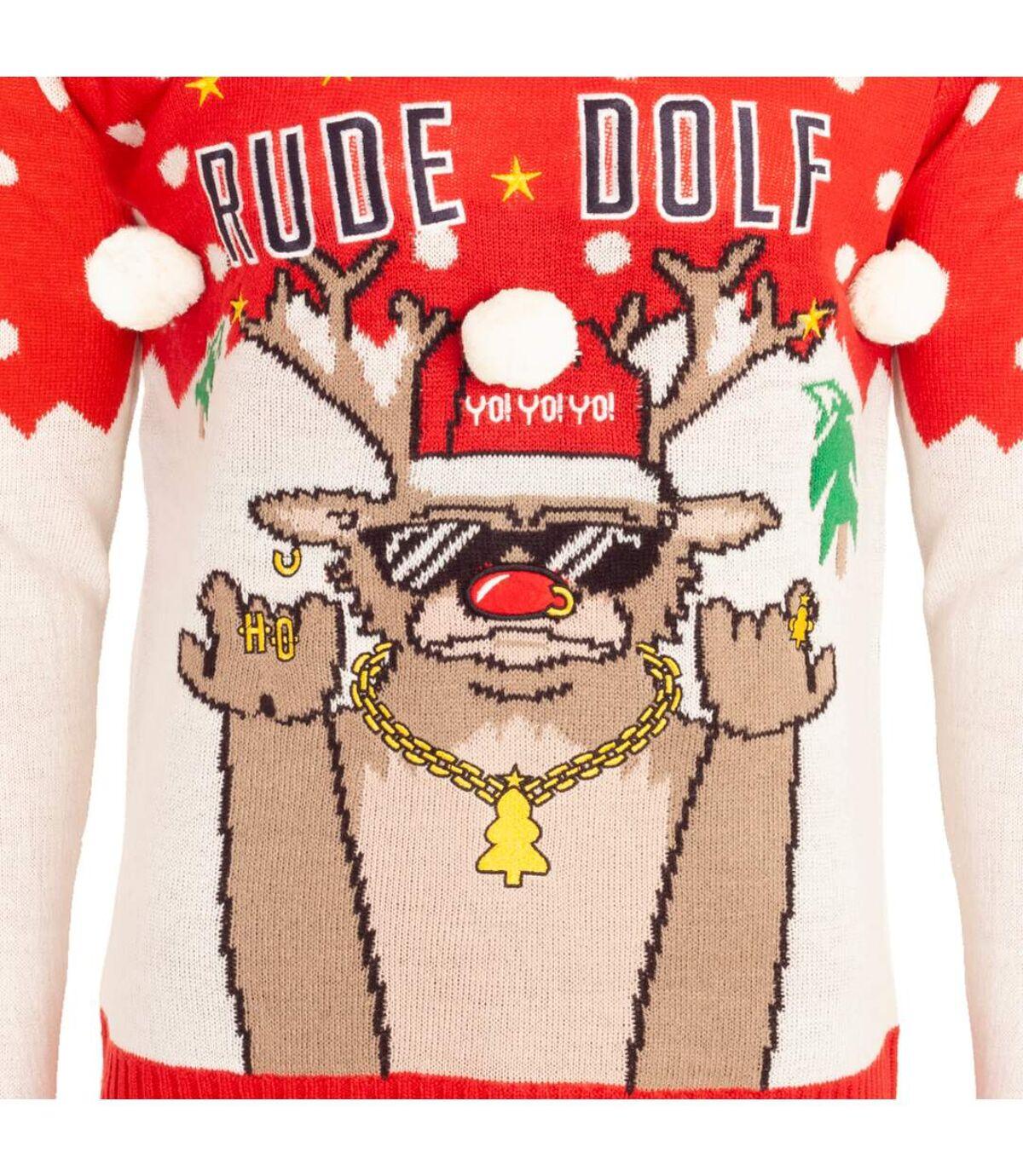Brave Soul Mens Christmas `Rude Dolf` Jumper (Red) - UTXM134