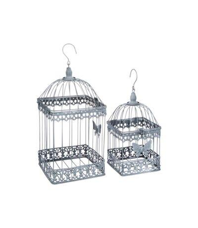 Lot de 2 Cages à Oiseaux en Métal Niena Gris