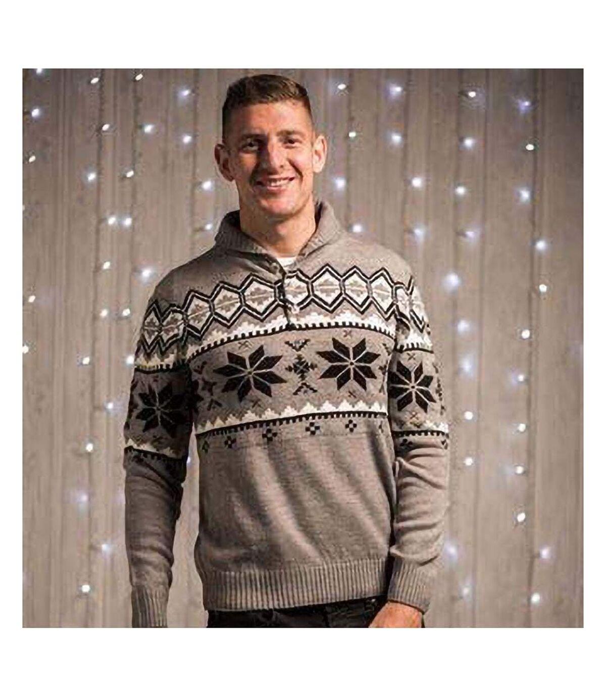 Christmas Shop Mens Shawl Collar Knitted Fairisle Design Jumper (Grey) - UTRW5202