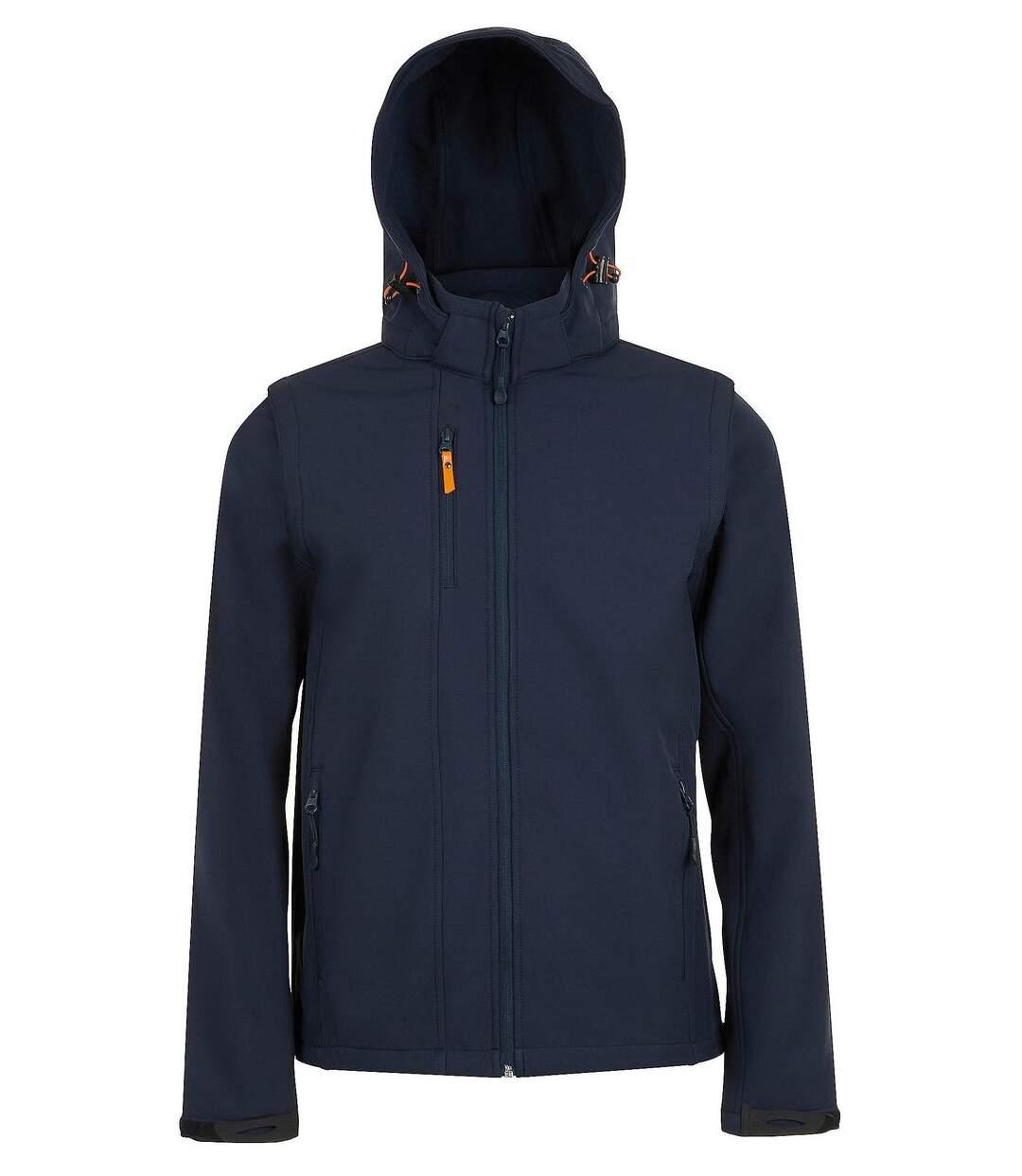 Veste softshell à capuche - manches amovibles - 01647 - bleu marine