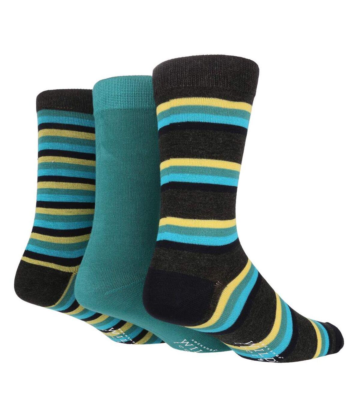 Wild Feet - 3 Pk Mens Striped Bamboo Dress Socks