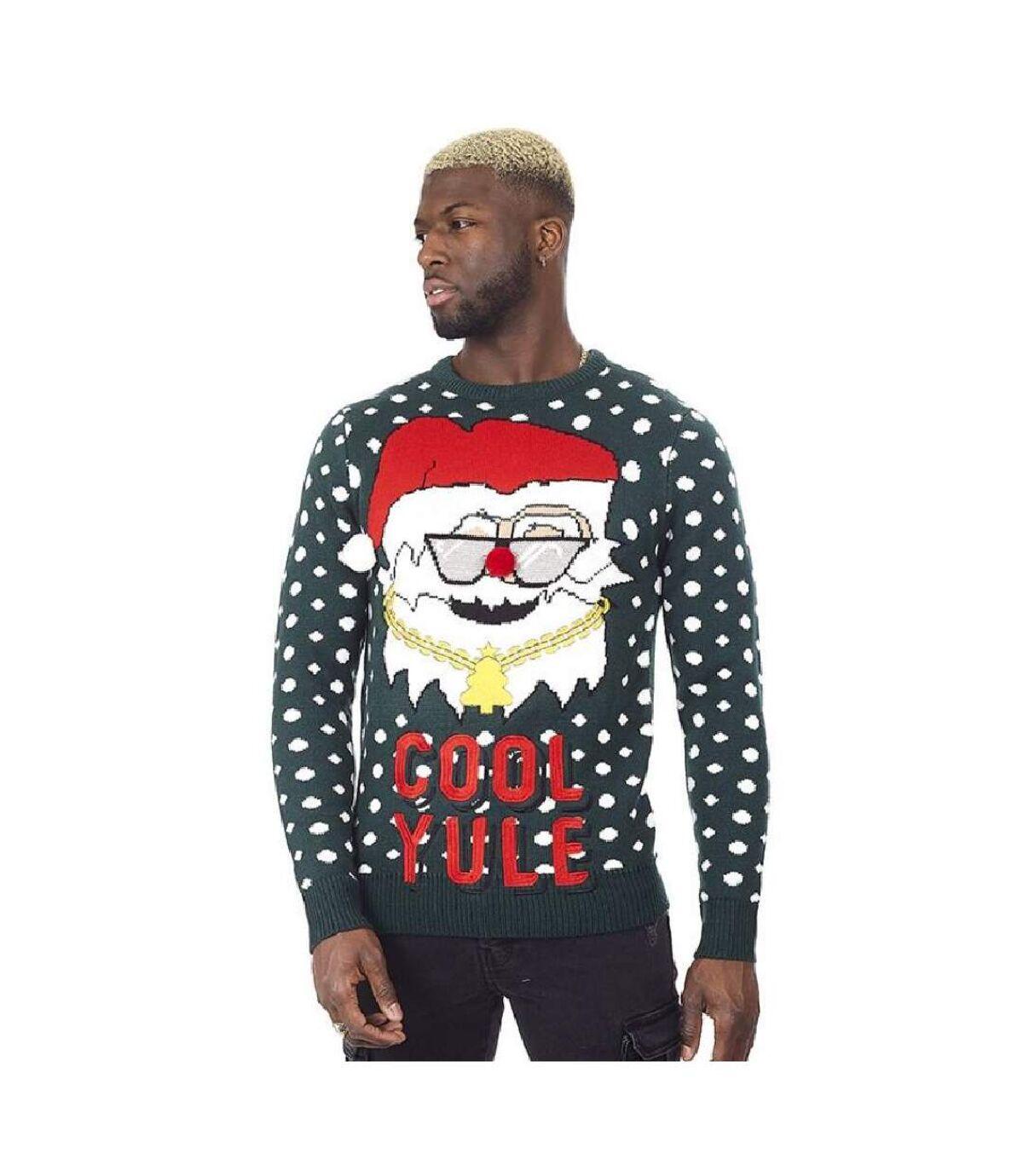 Brave Soul Mens Cool Yule Christmas Jumper (Pine Green) - UTUT411
