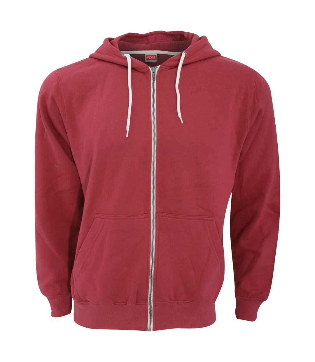 Fdm - Sweatshirt À Capuche Et Fermeture Zippée - Homme (Rouge) - UTBC3184