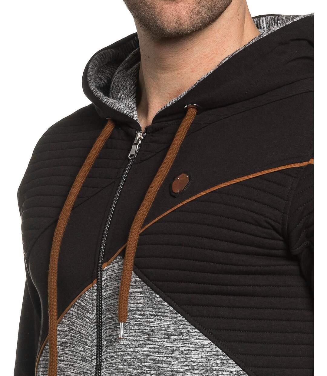 Sweat homme zippé à capuche noir