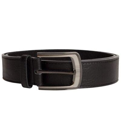 Duke Mens Samuel Large Buckle Leather Belt (Black) - UTDC121