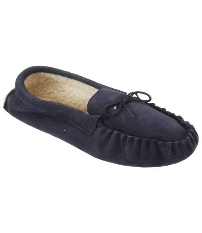 Mokkers Mens Jake Real Suede Moccasin Slippers (Navy Blue) - UTDF811