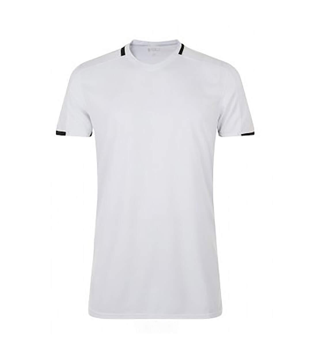 SOLS Mens Classico Contrast Short Sleeve Football T-Shirt (White/Black) - UTPC2787