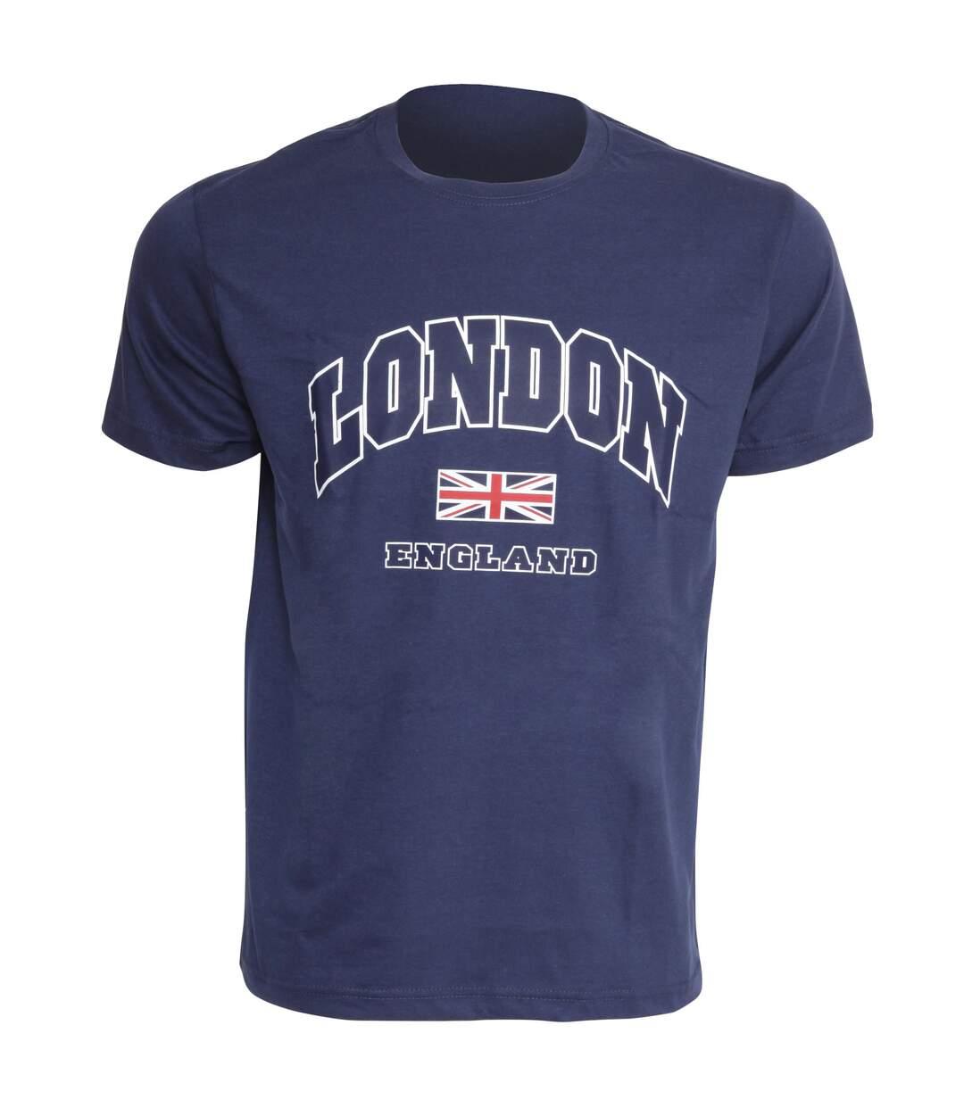 Mens London England Print 100% Cotton Short Sleeve Casual T-Shirt/Top (Navy) - UTSHIRT133