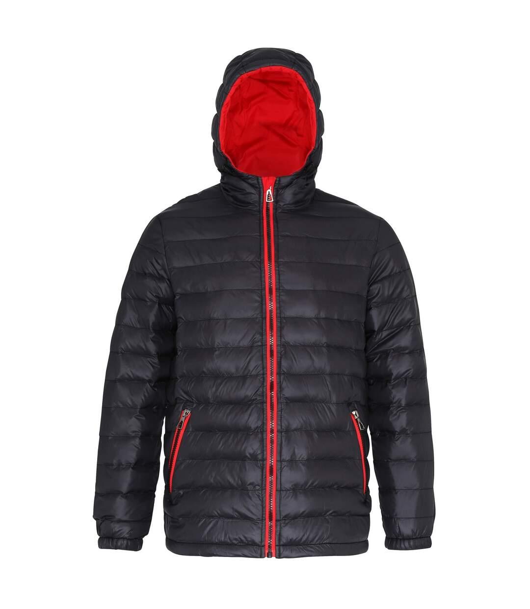 2786 Mens Hooded Water & Wind Resistant Padded Jacket (Black/Red) - UTRW3424