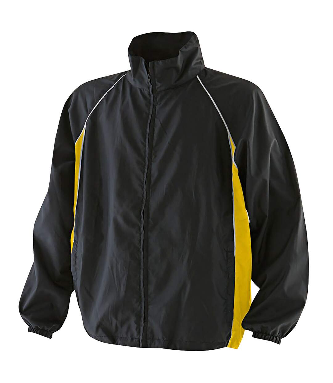 Finden & Hales Mens Piped Showerproof Full Zip Sports Training Jacket (Black/Black/White) - UTRW440