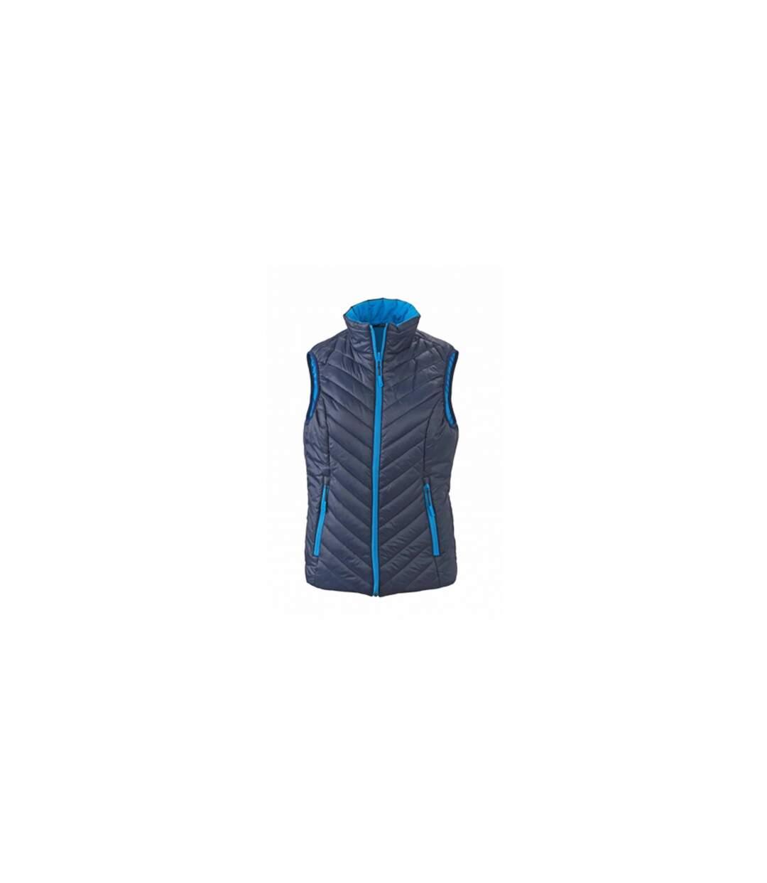 Doudoune sans manche FEMME JN1089 - bleu - réversible légère fine