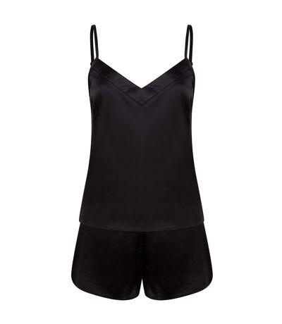 Towel City Ladies/Womens Satin Cami Short PJs (Black) - UTPC4070