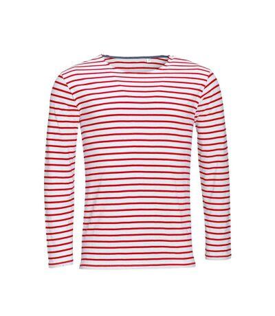 SOLS Mens Marine Long Sleeve Stripe T-Shirt (White/Red) - UTPC2579