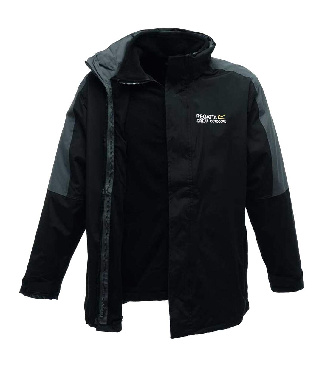 Regatta Mens Defender III 3-in-1 Waterproof Windproof Jacket / Performance Jacket (Black/Seal Grey) - UTRG1597