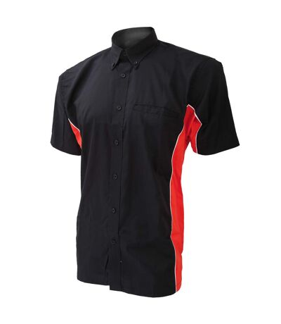 Gamegear Mens Sportsman Short Sleeve Shirt / Mens Sportswear (Black/Red/White) - UTBC410