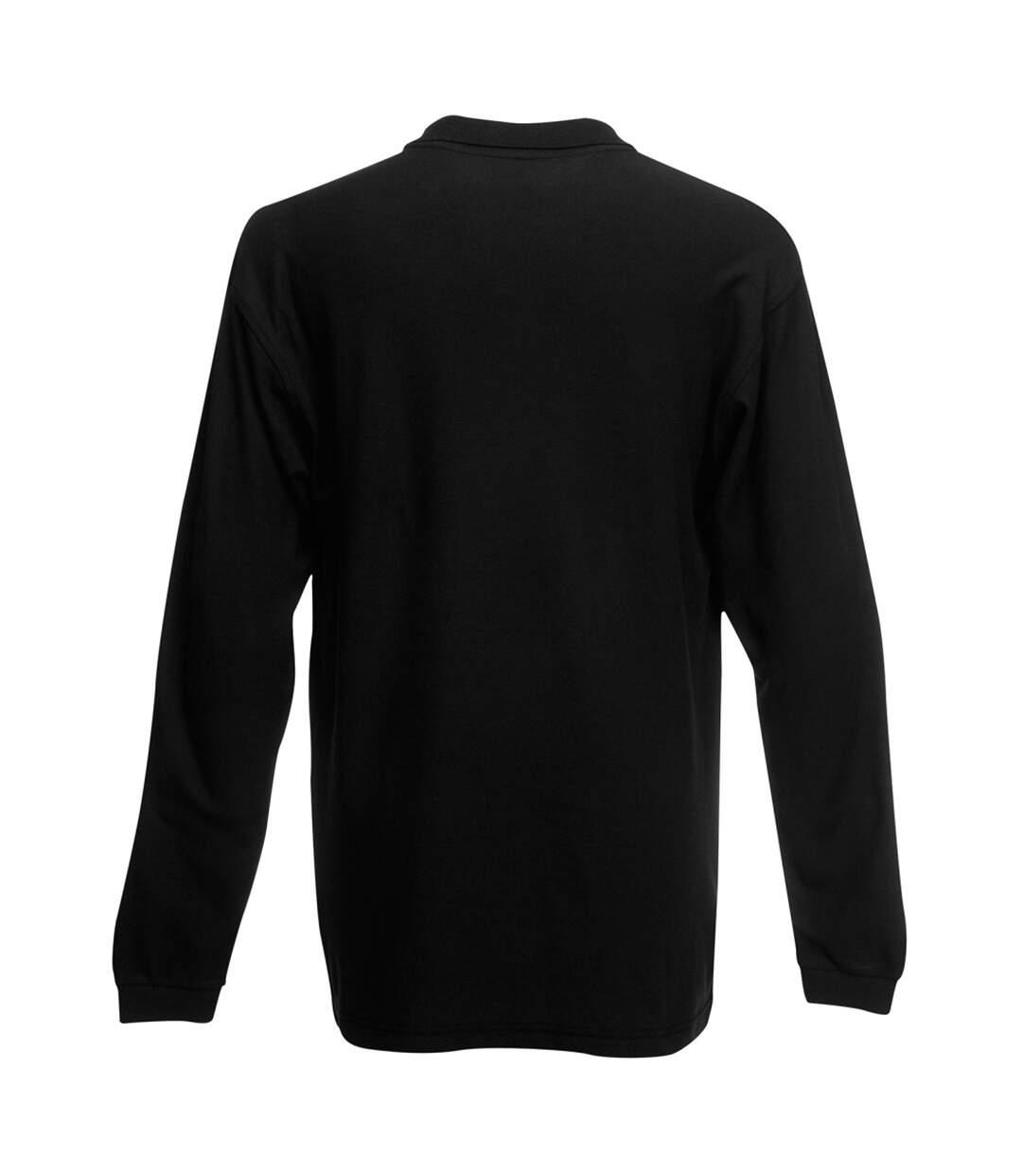 Fruit Of The Loom Mens Premium Long Sleeve Polo Shirt (Black) - UTBC1383