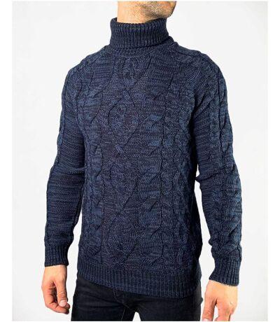 Pull col roulé à maille torsadées bleu foncé chiné moucheté avec laine pour homme