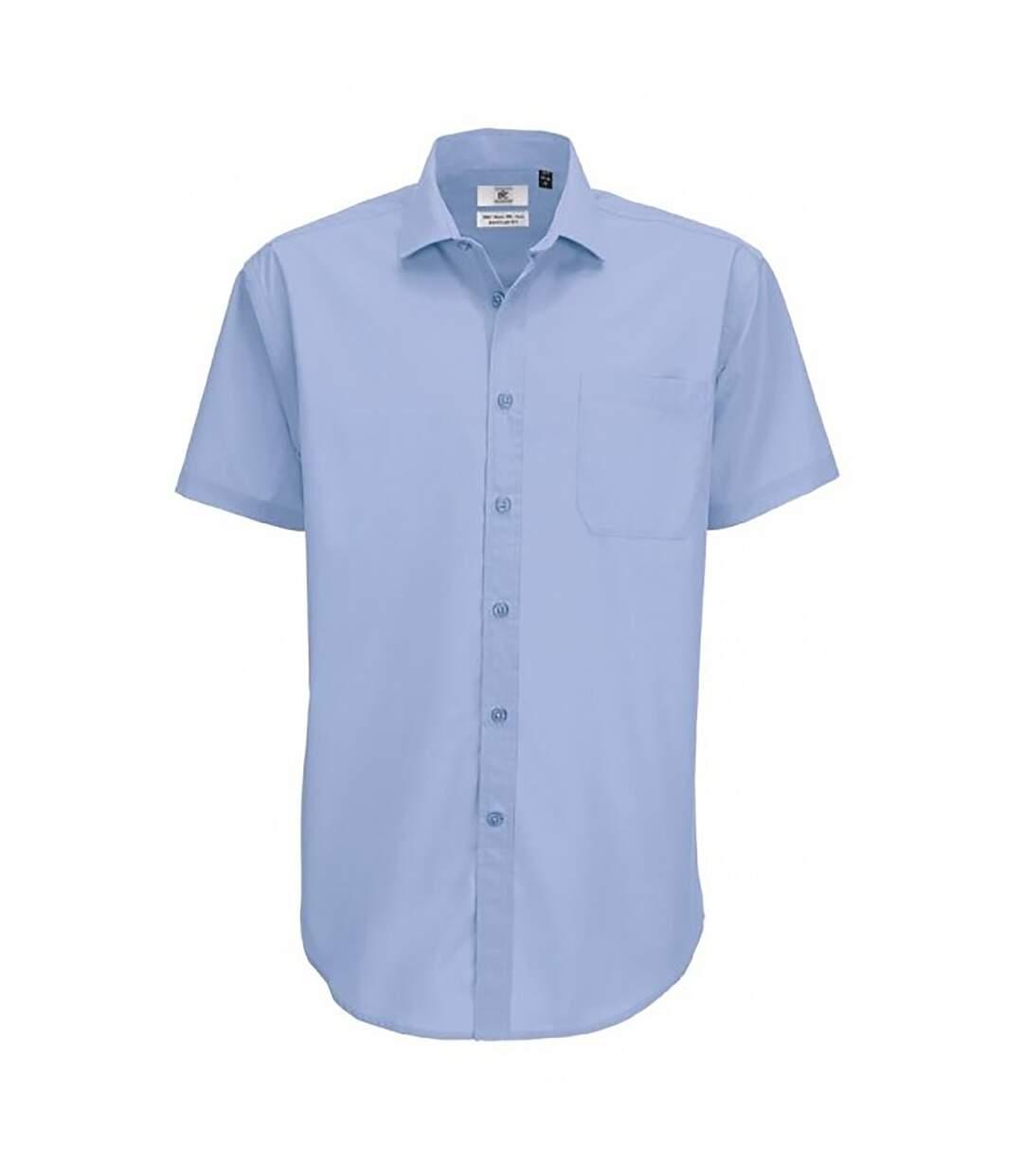 B&C Mens Smart Short Sleeve Shirt / Mens Shirts (Black) - UTBC112