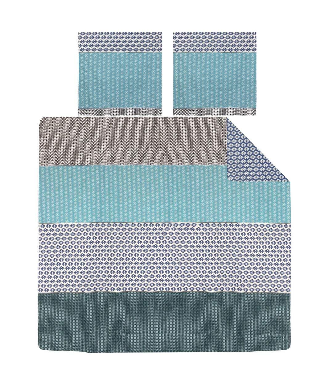 Parure de lit 240x220 cm 100% coton RIO JADE bleu 3 pièces