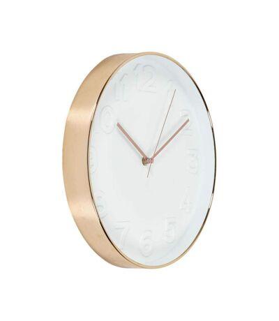 Horloge ronde cuivrée et blanche 30.5 cm