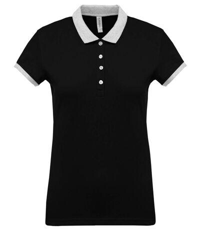 Polo bicolore pour femme - K259 - noir - manches courtes