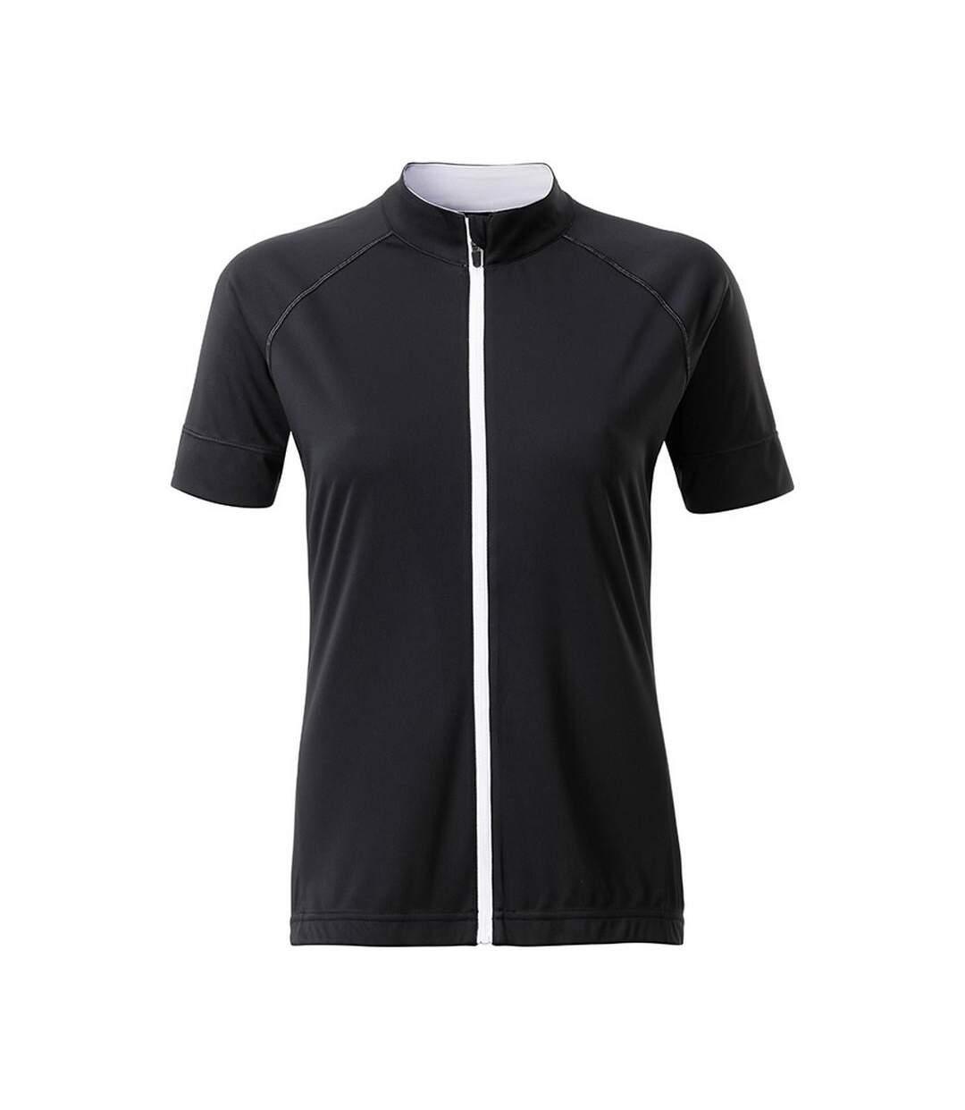 James And Nicholson - T-Shirt Zippé - Femme (Noir / blanc) - UTFU166