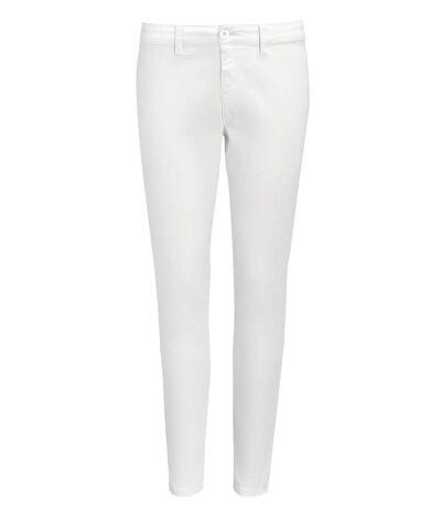 pantalon toile stretch femme - 01425 7-8ème - blanc