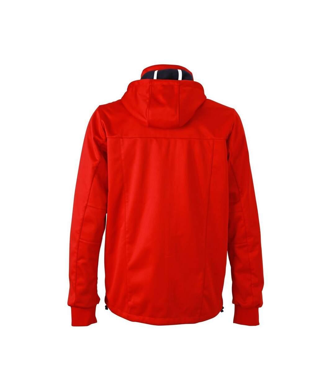 Veste softshell à capuche - homme JN1078 - rouge - coupe-vent imperméable