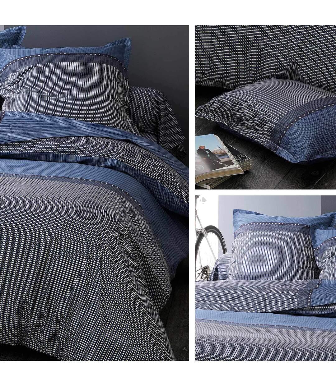 Parure de lit 140x200 cm satin de coton ENZO bleu 2 pièces