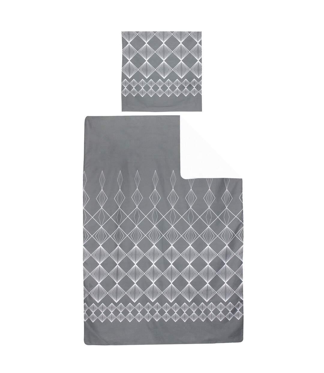 Parure de lit 140x200 cm 100% coton FOREVER GRIS gris foncé 2 pièces