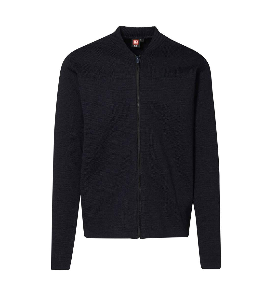 ID Mens Fitted Full Zip Knitted Cardigan (Navy) - UTID396