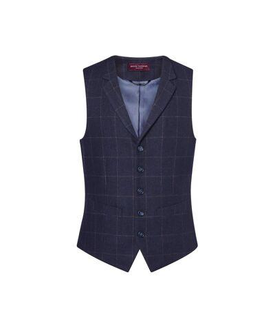 Brook Taverner Mens Memphis Tweed Waistcoat (Navy Check) - UTRW6639