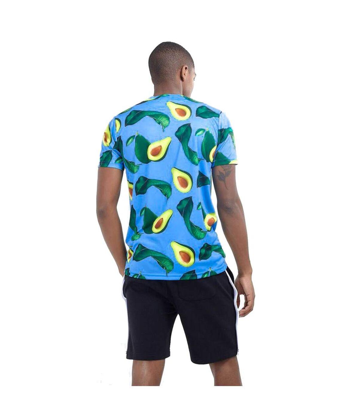 Brave Soul Mens Avocado Print Crew Neck T Shirt (Blue/Avocado) - UTSHIRT392