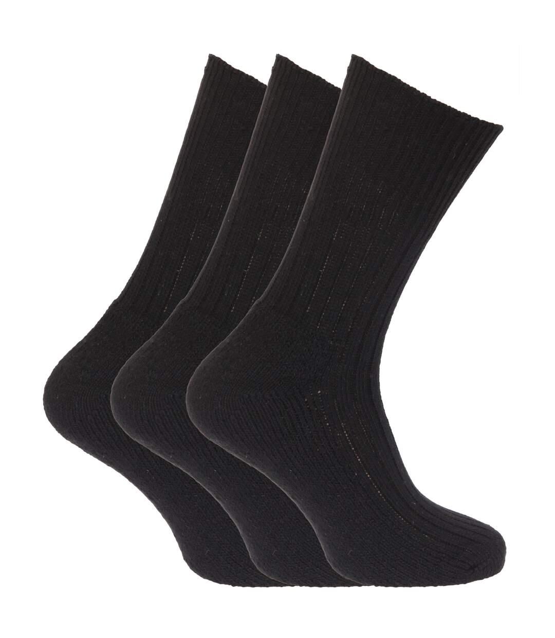 Mens Wool Blend Non Elastic Top Light Hold Socks (Pack Of 3) (Black) - UTMB159