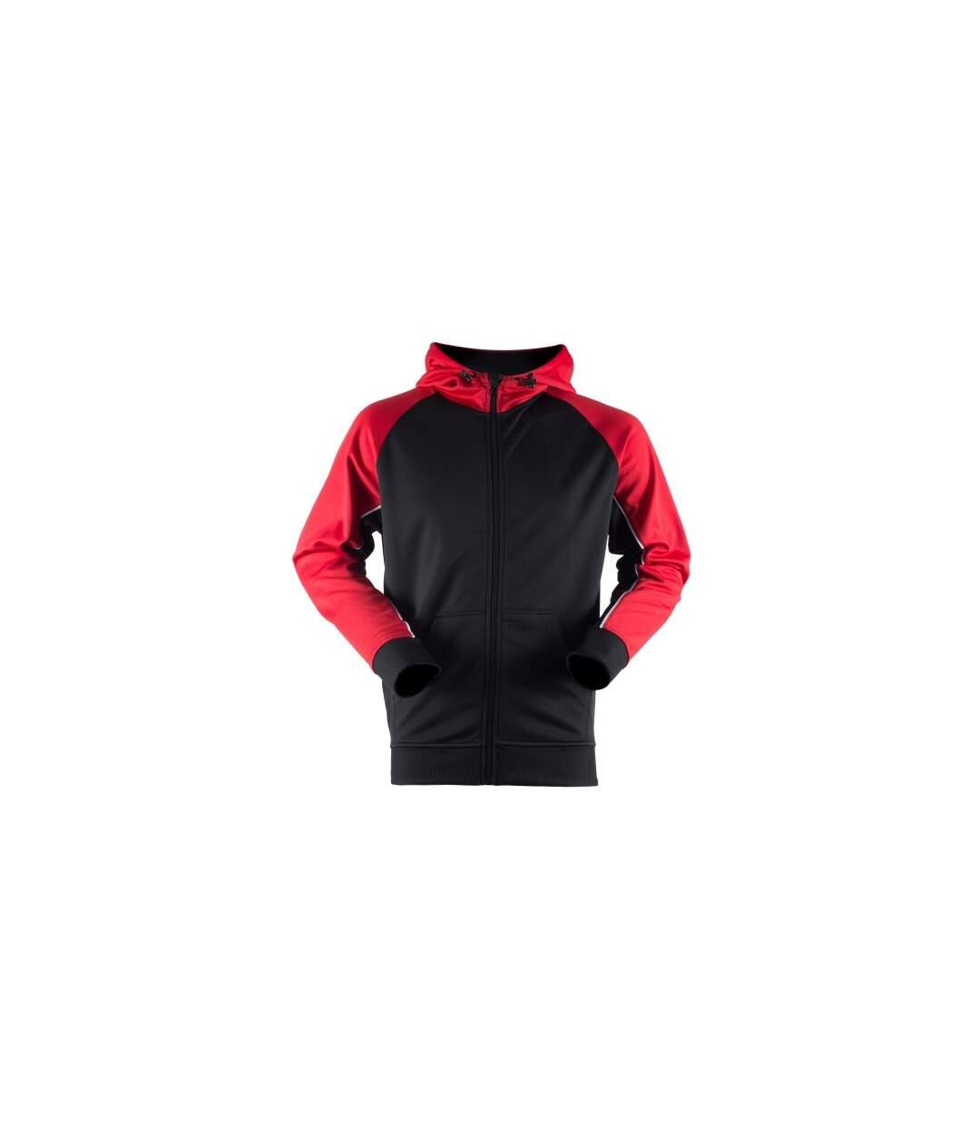 Finden & Hales Mens Moisture Wicking Panelled Sports Hoodie (Black/Gun Metal Grey/White) - UTRW4690