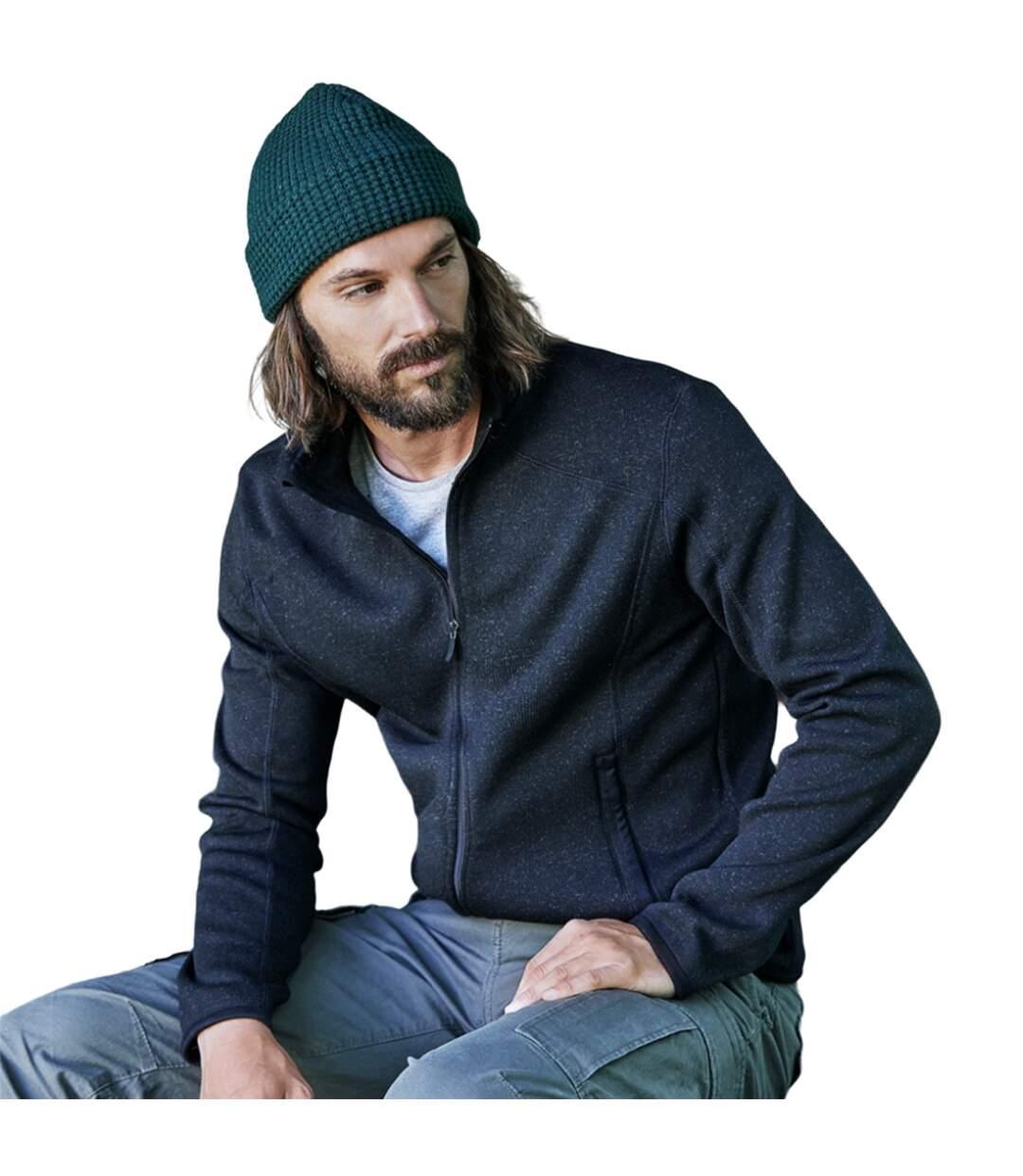 Tee Jays Mens Knitted Outdoor Fleece Jacket (Grey Melange) - UTPC3416