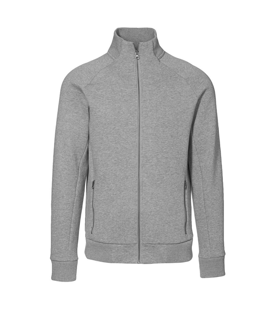 ID Mens Fitted Full Zip Fleece Jacket (Grey Melange) - UTID389
