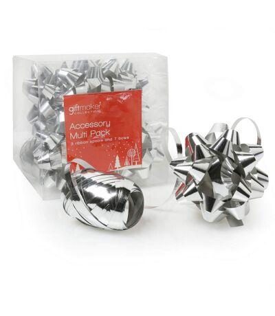 Christmas Shop - Rubans et nœuds pour cadeaux (Lot de 10) (Argent) (Taille unique) - UTRW3825